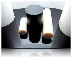 PA6, PA6G, APA, silon, PTFE silonové tyče a desky alkalický polyamid silon PA6 G Tyče průměr 30 mm - černá s přídavkem grafitu kvalita B plmont