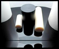 PA6, PA6G, APA, silon, PTFE silonové tyče a desky alkalický polyamid silon PA6 G Tyče průměr 45 mm - černá s přídavkem grafitu kvalita B plmont
