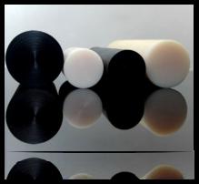 PA6, PA6G, APA, silon, PTFE silonové tyče a desky alkalický polyamid silon PA6 G Tyče průměr 45 mm - černá s přídavkem grafitu plmont